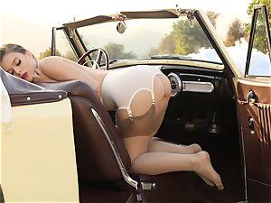 Lana Rhoades vintage car cunt have fun