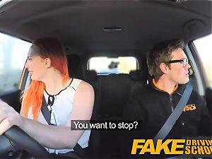 faux Driving college sexy sandy-haired lusts after ample pipe