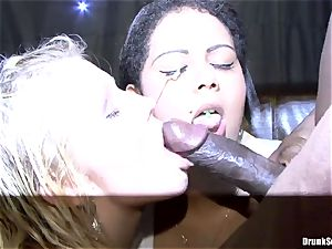 Bibi Fox and buzzed pals love black come on face