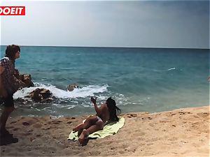 LETSDOEIT - super hot ebony teen fucked stiff At The Beach