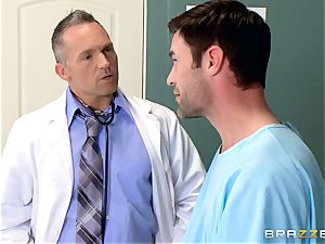 nuts busting nurse Karlee Grey strokes beef whistle with ease