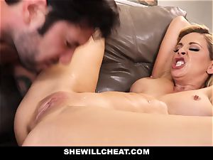 SheWillCheat cheating wifey Gags on pink cigar