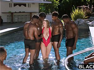 BLACKED Lena Paul very first bi-racial gang-bang