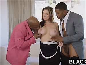 BLACKED red-hot Trophy wifey porks bbc in husband's sofa