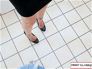 FirstClass point of view - enjoy Julia Ann fellating a large yam-sized chisel