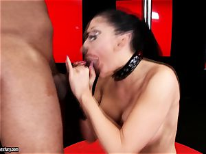 gorgeous stunner Aletta Ocean is gobbling a dark-hued hard-on like a monster noodle