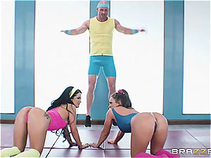 Johnny, Abi and Kat have a post-workout threeway