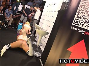 blond getting off in PUBLIC with hump playthings