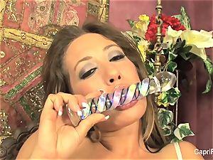 Capri Cavanni gets herself off with a glass fuck stick